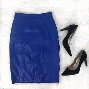 Vintage Electric Blue Leather Pencil Skirt size 26
